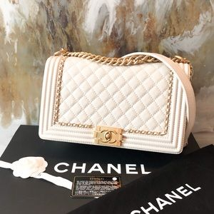 Chanel New Medium Cream Chain Accent Boy Bag GHW
